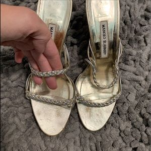 Vintage silver and gold Manolo Blahnik